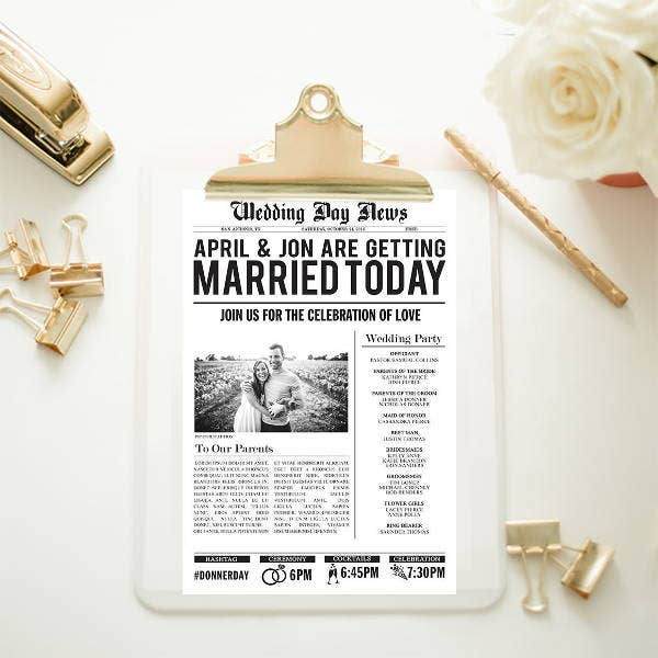 customized wedding newspaper template