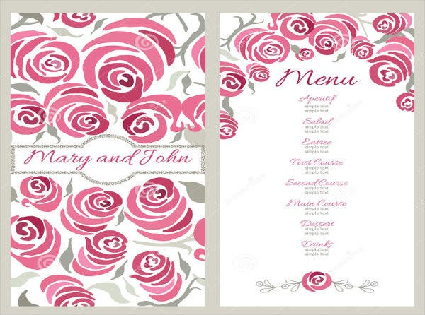 Family Restaurant Wedding Menu Design