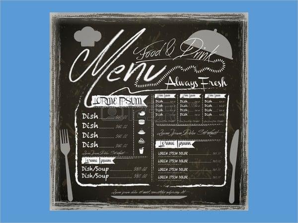 vintage family restaurant menu design