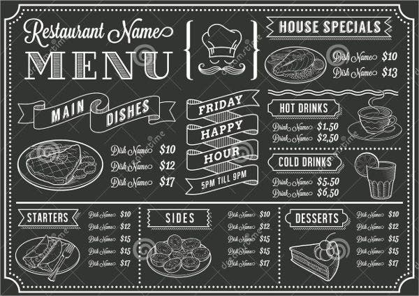 Family Restaurant Chalkboard Menu Template
