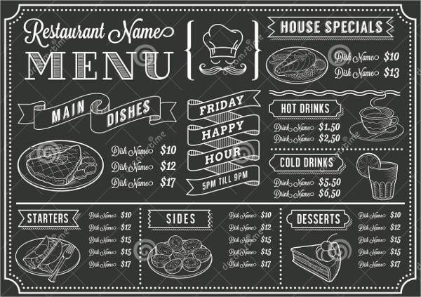 family restaurant chalkboard menu template