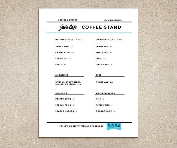 printable family restaurant menu design