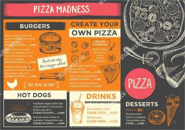 family pizza restaurant menu template
