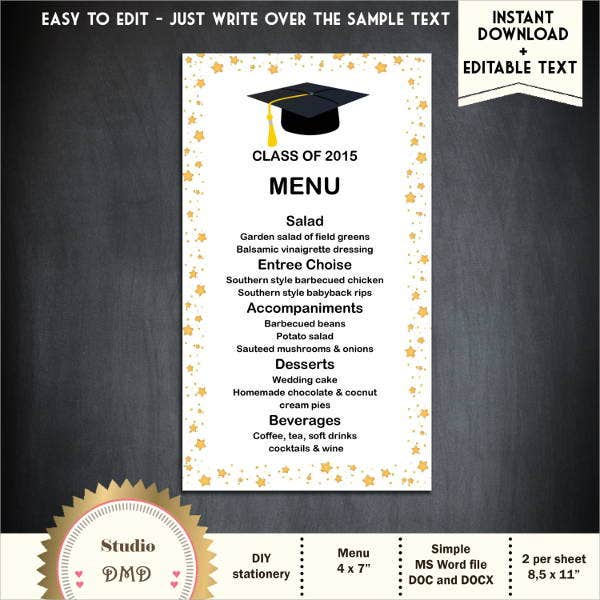 Graduation Party Menu Templates  Designs Templates  Free
