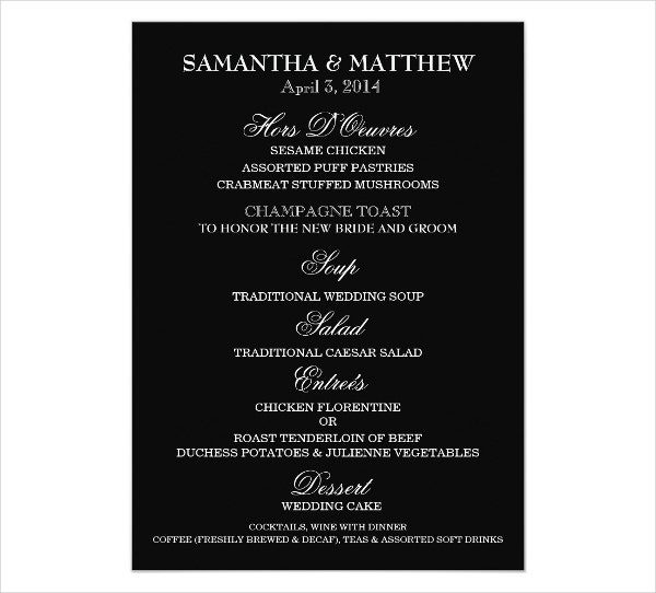 6+ Engagement Party Menu Templates - Designs, Templates | Free ...