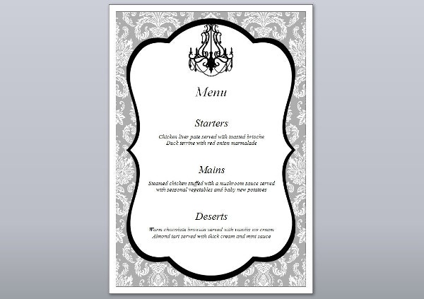 Formal Engagement Party Menu Design  Formal Dinner Menu Template