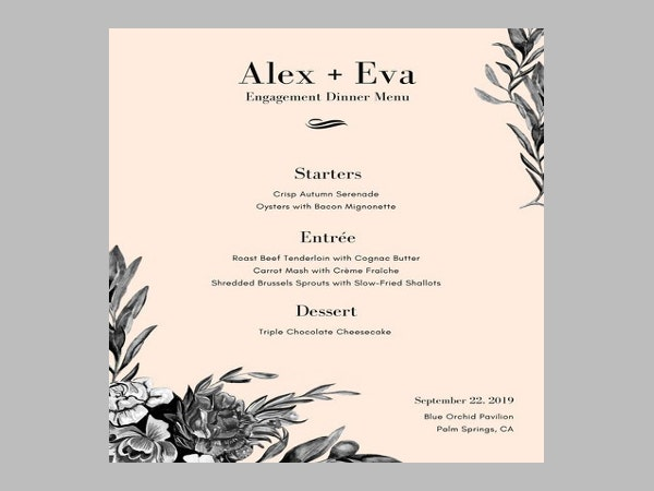 6+ Engagement Party Menu Templates - Designs, Templates | Free