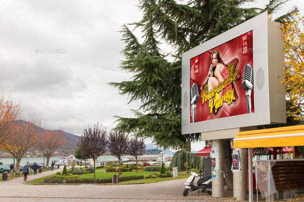 photorealistic outdoor billboard mockup