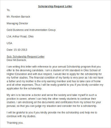 Scholarship Application Letters   Sample Example Template