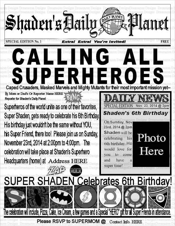 5 birthday newspaper templates word pdf psd indesign for Free newspaper template