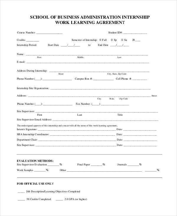 business administration learning agreement