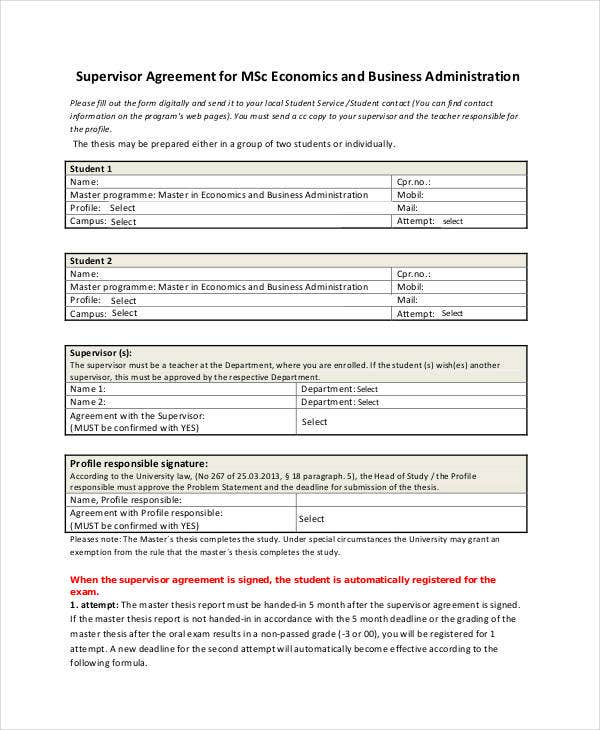 business administration supervisor agreement
