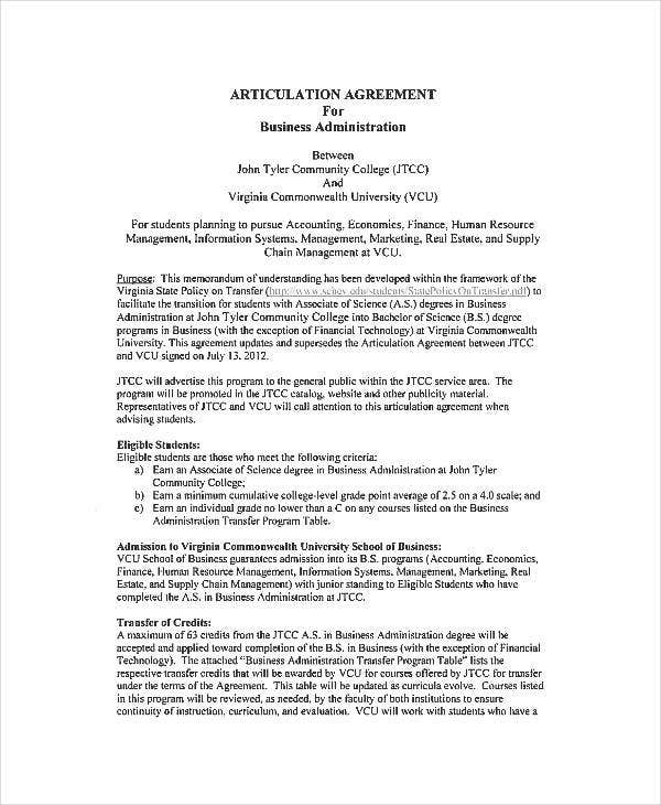 Business Administration Agreements   Free Pdf Documents Download