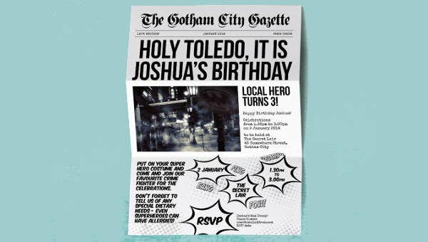 5  birthday newspaper templates