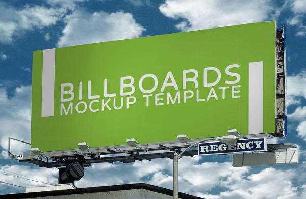 photorealistic horizontal billboard mockup