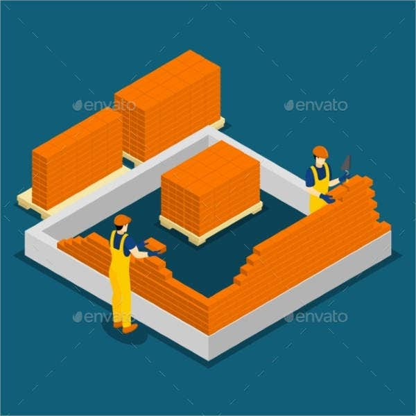 construction workers isometric banner