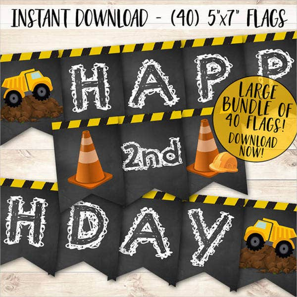 birthday construction banner