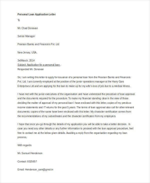 Loan Application Letter Templates   Free Word Documents