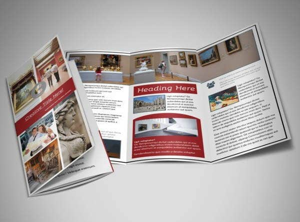 museum information tri fold brochure template