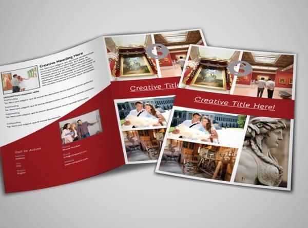 museum information bi fold brochure template