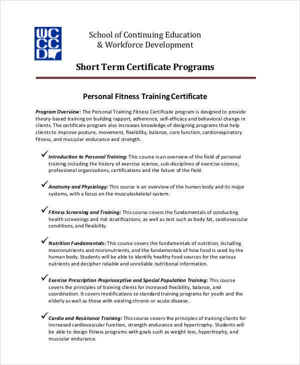 personal fitness training certificate1 - Personal Training Certificate Template