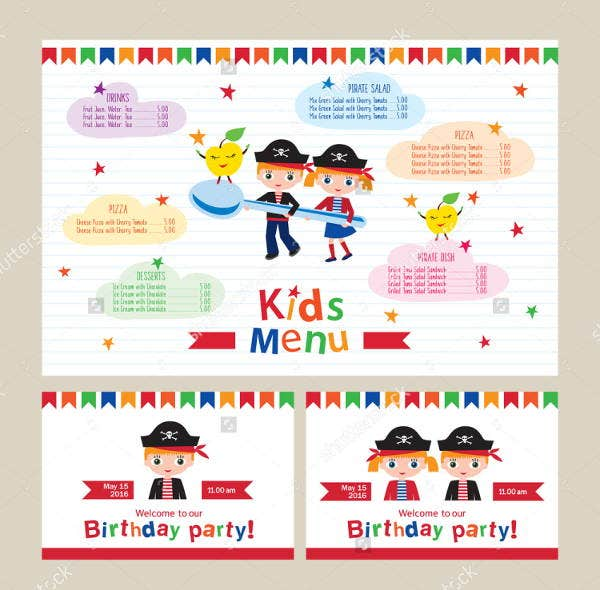 childrens birthday party menu template1