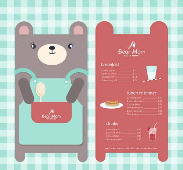 free printable childrens party menu design