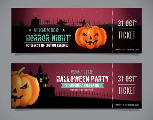halloween party entry ticket template