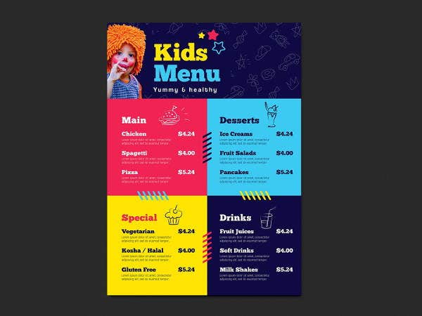 a4 childrens menu design
