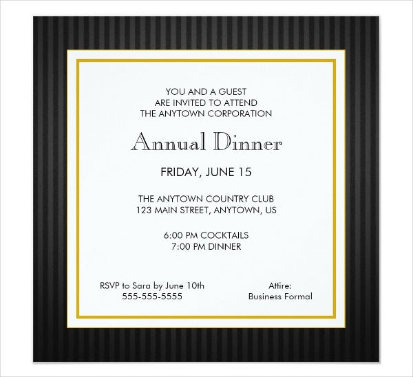 annual dinner invitation card