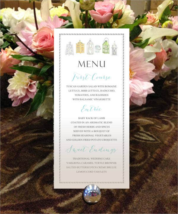 Formal Garden Party Menu Template