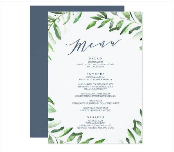 Spring Garden Party Menu Design