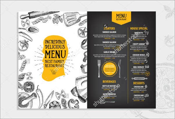 lunch party food menu template
