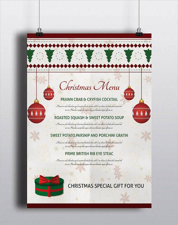 christmas lunch party menu template