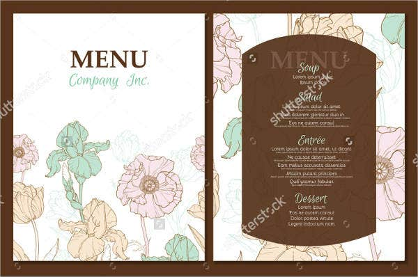 garden lunch party menu template