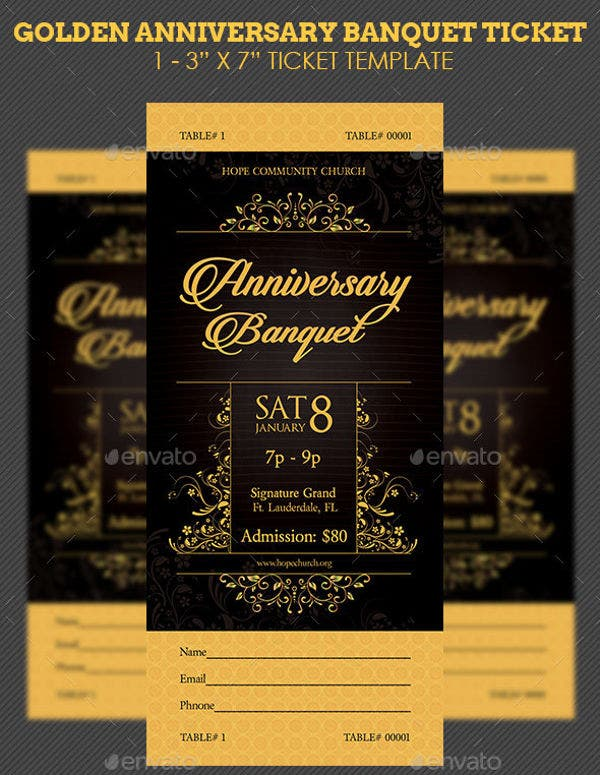 golden-anniversary-banquet-ticket-template