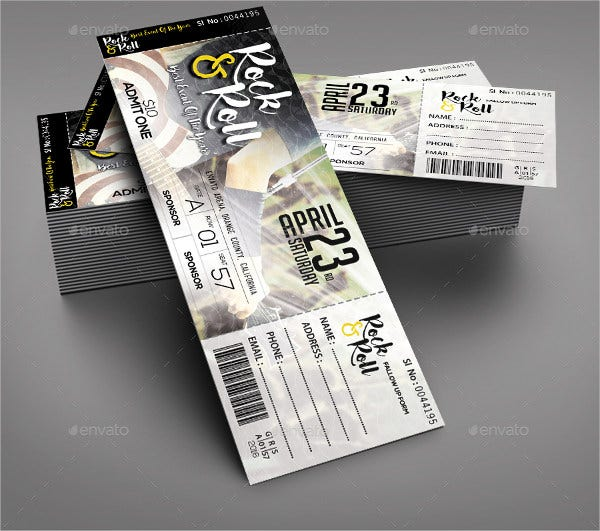 Concert Event Ticket Template And Concert Ticket Design