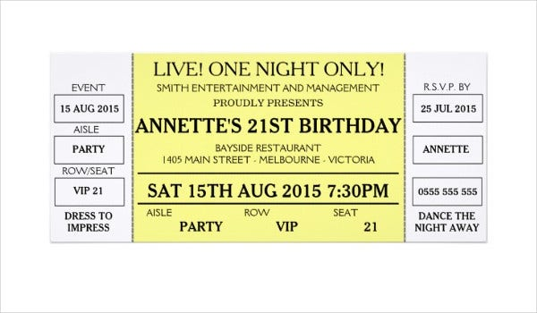 Birthday Invitation Concert Ticket Template  Printable Concert Ticket Template