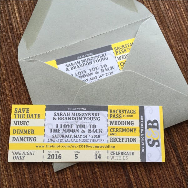 Save The Date Concert Ticket Template  Concert Ticket Layout