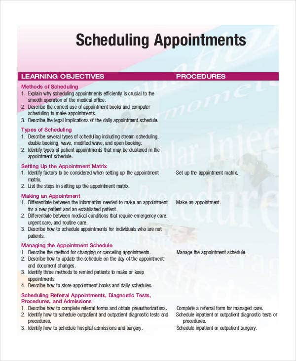 Appointment Schedule Book Template
