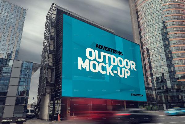 Square Landscape Billboard Mockup