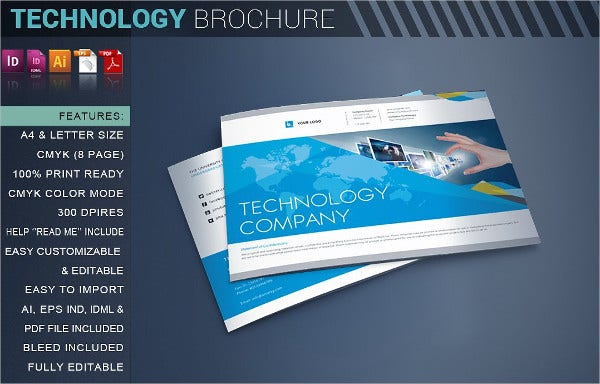 9 technology brochures editable psd ai vector eps for Technology brochure templates