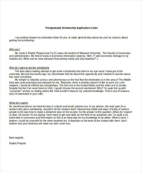 Scholarship Application Letters - 11+ Free Word, PDF ...