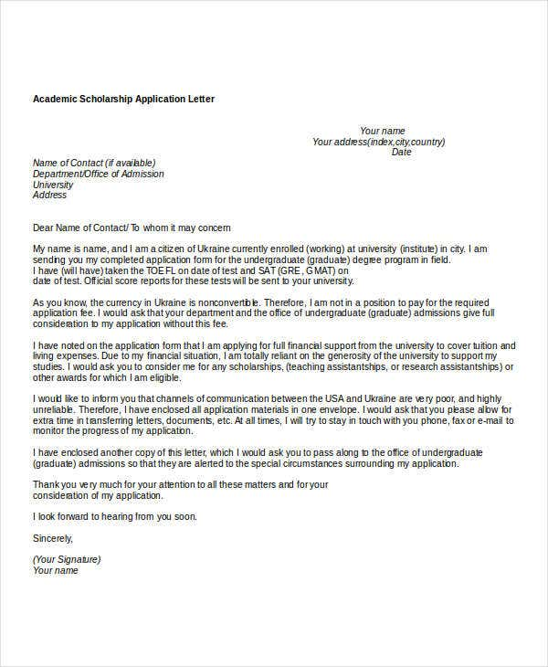 Application letter for a university scholarship for Scholarship guidelines template