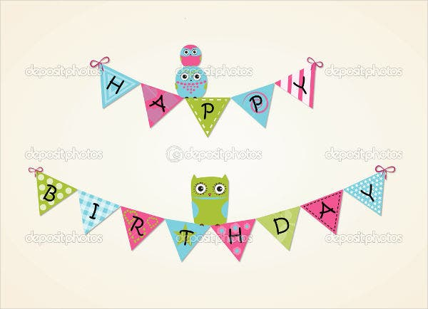 pennant birthday invitation banner