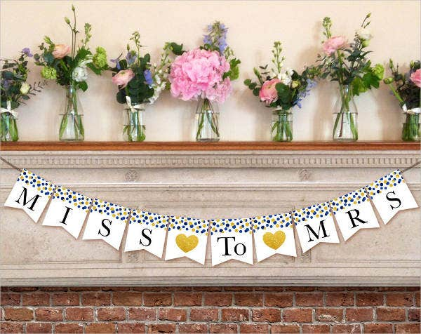 pennant bridal shower invitation banner