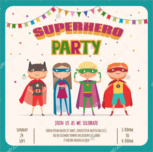 Flash Super Hero Invitation Card
