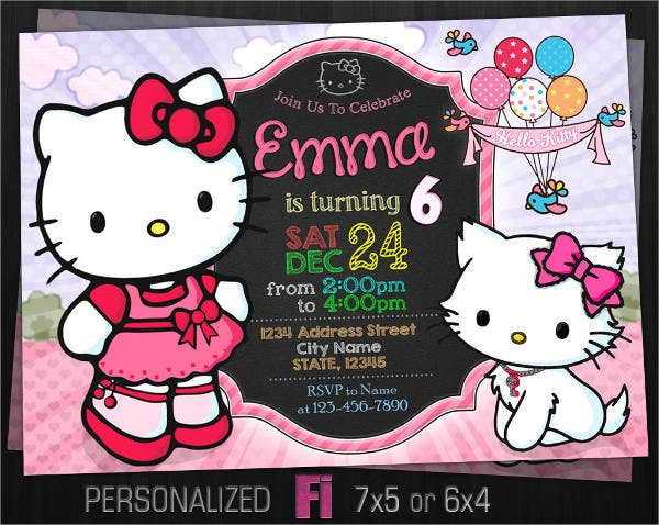 8 Hello Kitty Photo Invitations Designs Templates Free