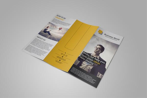 business trifold brochure mockup