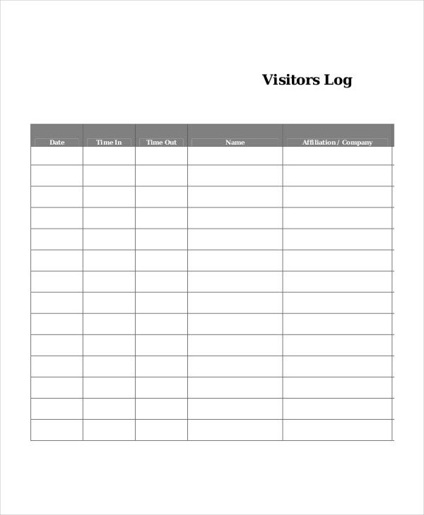 Log book template 7 free word pdf documents download for Visitors book template free download